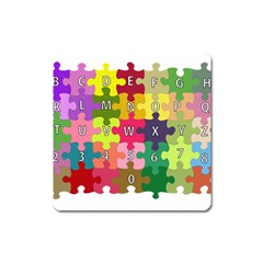 Puzzle Part Letters Abc Education Square Magnet by Celenk