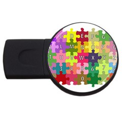 Puzzle Part Letters Abc Education Usb Flash Drive Round (4 Gb) by Celenk
