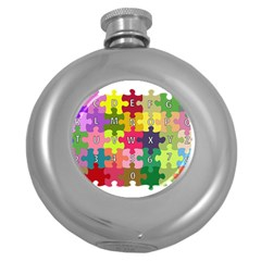 Puzzle Part Letters Abc Education Round Hip Flask (5 Oz) by Celenk