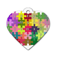 Puzzle Part Letters Abc Education Dog Tag Heart (one Side) by Celenk