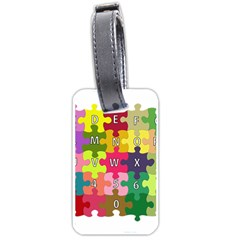 Puzzle Part Letters Abc Education Luggage Tags (one Side)  by Celenk