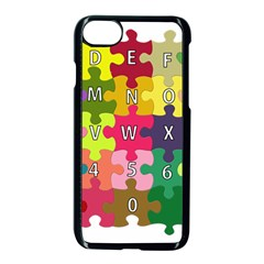 Puzzle Part Letters Abc Education Apple Iphone 7 Seamless Case (black) by Celenk