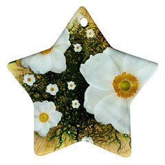 Summer Anemone Sylvestris Ornament (star) by Celenk