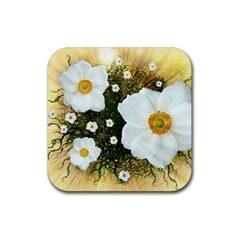 Summer Anemone Sylvestris Rubber Square Coaster (4 Pack)  by Celenk