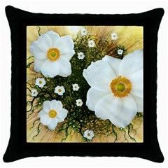 Summer Anemone Sylvestris Throw Pillow Case (black) by Celenk