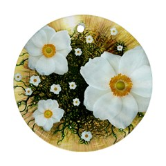 Summer Anemone Sylvestris Round Ornament (two Sides) by Celenk