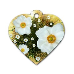 Summer Anemone Sylvestris Dog Tag Heart (two Sides) by Celenk