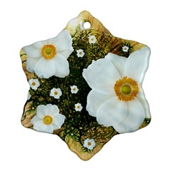 Summer Anemone Sylvestris Snowflake Ornament (two Sides) by Celenk