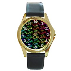 Thank You Font Colorful Word Color Round Gold Metal Watch by Celenk