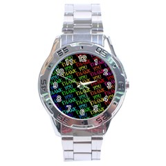 Thank You Font Colorful Word Color Stainless Steel Analogue Watch by Celenk