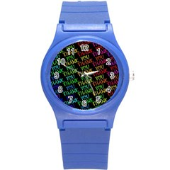 Thank You Font Colorful Word Color Round Plastic Sport Watch (s) by Celenk
