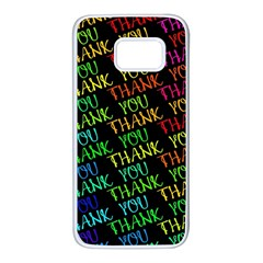 Thank You Font Colorful Word Color Samsung Galaxy S7 White Seamless Case by Celenk