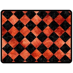 Square2 Black Marble & Copper Paint Double Sided Fleece Blanket (large)  by trendistuff