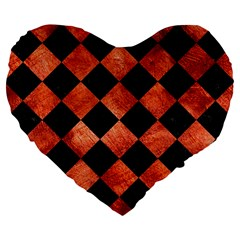 Square2 Black Marble & Copper Paint Large 19  Premium Flano Heart Shape Cushions by trendistuff