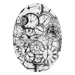 Time Clock Watches Time Of Oval Ornament (two Sides) by Celenk