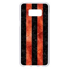 Stripes1 Black Marble & Copper Paint Samsung Galaxy S8 Plus White Seamless Case by trendistuff