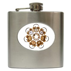 Time Clock Alarm Clock Time Of Hip Flask (6 Oz) by Celenk