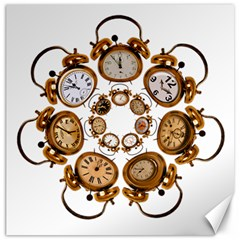 Time Clock Alarm Clock Time Of Canvas 12  X 12   by Celenk