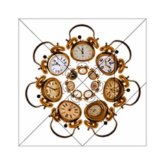 Time Clock Alarm Clock Time Of Acrylic Tangram Puzzle (6  X 6 ) by Celenk