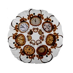 Time Clock Alarm Clock Time Of Standard 15  Premium Round Cushions by Celenk