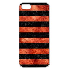 Stripes2 Black Marble & Copper Paint Apple Seamless Iphone 5 Case (clear)