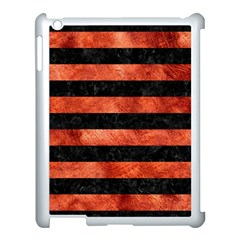 Stripes2 Black Marble & Copper Paint Apple Ipad 3/4 Case (white) by trendistuff