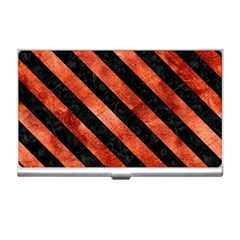 Stripes3 Black Marble & Copper Paint Business Card Holders