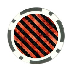 Stripes3 Black Marble & Copper Paint Poker Chip Card Guard by trendistuff