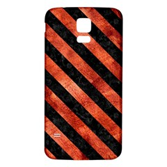 Stripes3 Black Marble & Copper Paint Samsung Galaxy S5 Back Case (white) by trendistuff