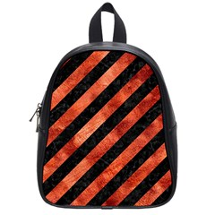 Stripes3 Black Marble & Copper Paint (r) School Bag (small) by trendistuff