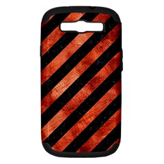 Stripes3 Black Marble & Copper Paint (r) Samsung Galaxy S Iii Hardshell Case (pc+silicone) by trendistuff