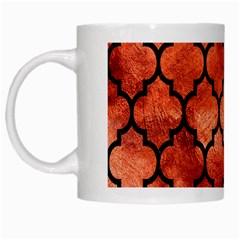 Tile1 Black Marble & Copper Paint White Mugs by trendistuff