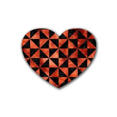 Triangle1 Black Marble & Copper Paint Rubber Coaster (heart)  by trendistuff
