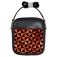Triangle1 Black Marble & Copper Paint Girls Sling Bags by trendistuff