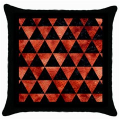 Triangle3 Black Marble & Copper Paint Throw Pillow Case (black) by trendistuff