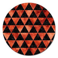Triangle3 Black Marble & Copper Paint Magnet 5  (round) by trendistuff
