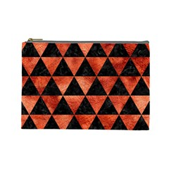 Triangle3 Black Marble & Copper Paint Cosmetic Bag (large)  by trendistuff