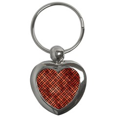 Woven2 Black Marble & Copper Paint Key Chains (heart)  by trendistuff