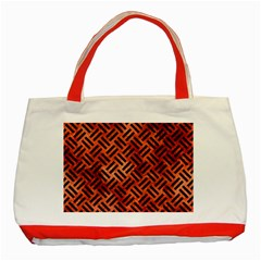 Woven2 Black Marble & Copper Paint Classic Tote Bag (red) by trendistuff