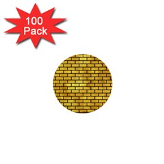 Brick1 Black Marble & Gold Paint 1  Mini Buttons (100 Pack)  by trendistuff