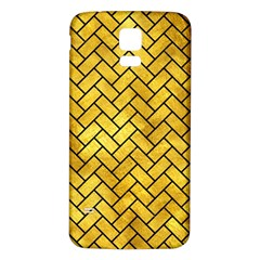 Brick2 Black Marble & Gold Paint Samsung Galaxy S5 Back Case (white) by trendistuff
