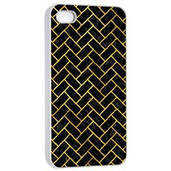 Brick2 Black Marble & Gold Paint (r) Apple Iphone 4/4s Seamless Case (white) by trendistuff