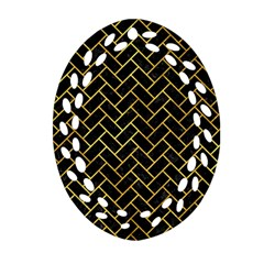 Brick2 Black Marble & Gold Paint (r) Oval Filigree Ornament (two Sides) by trendistuff