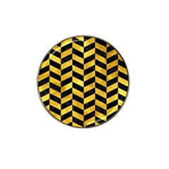 Chevron1 Black Marble & Gold Paint Hat Clip Ball Marker (10 Pack) by trendistuff