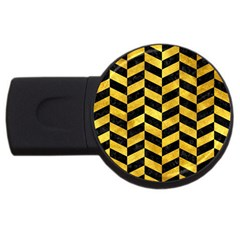 Chevron1 Black Marble & Gold Paint Usb Flash Drive Round (4 Gb) by trendistuff