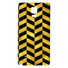 Chevron1 Black Marble & Gold Paint Galaxy Note 4 Back Case by trendistuff