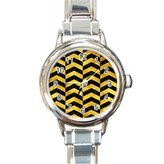 Chevron2 Black Marble & Gold Paint Round Italian Charm Watch by trendistuff