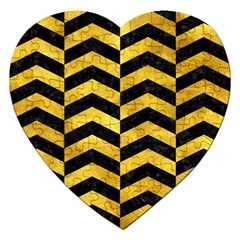 Chevron2 Black Marble & Gold Paint Jigsaw Puzzle (heart) by trendistuff