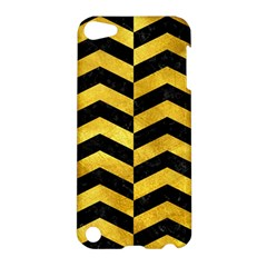 Chevron2 Black Marble & Gold Paint Apple Ipod Touch 5 Hardshell Case by trendistuff