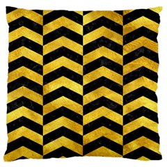 Chevron2 Black Marble & Gold Paint Standard Flano Cushion Case (two Sides) by trendistuff